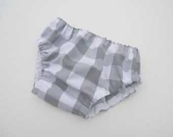 Buffaloplaid diaper cover-Gray baby buffalo plaid bloomers-Unisex diaper cover-Baby gender neutral nappy cover-Baby bloomers