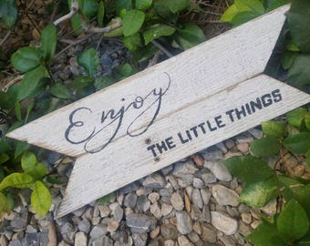 Reclaimed wood sign enjoy the little things