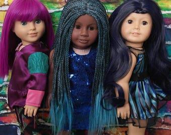 Descendants (Mal, Evie, Uma) American (AG) girl 18 inch doll size 10 wig