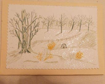 Handmade Greeting Card,  5x7 Snow Scene Greeting Cards, Hand Painted, Winter Scene Card Friend Greeting Card, Made in the USA,, #54