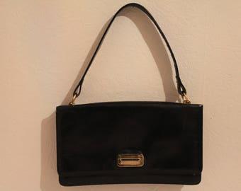 True Vintage 1980's Black Leather Handbag With A Snap Fastener
