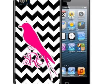 Monogrammed Rubber Case For iPhone X, 8, 8 plus, 7, 7 plus, 6s, 6s plus, 5, 5s, 5c, SE - Black Chevron Pink Bird