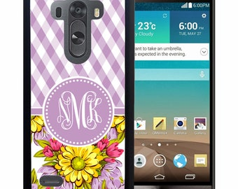 Monogrammed Rubber Case For LG  3, 4, 5, 6 - Purple Plaid Flowers