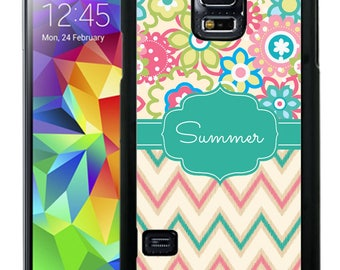 Personalize Rubber Case For Samsung Note 3, Note 4, Note 5, or Note 8-  Teal Pink Flowers Chevron