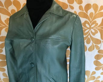 Vintage Sage Green Leather Jacket