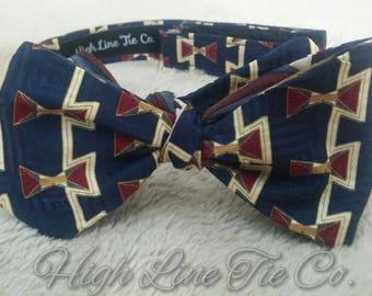 Reversible silk handmade self-tie bow tie made from 2  vintage neckties