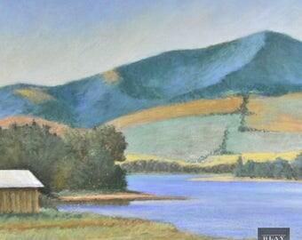 Vintage Original Pastel Painting 20th Century Canadian Rocky Mountain Farmhouse Lake Landscape
