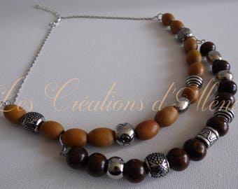 Necklace: steel and wood.