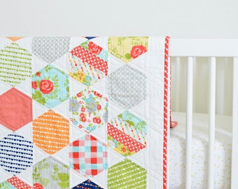 Colorful Hexagon Baby Quilt