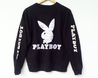 Playboy Bunny Sweatshirt Black colour Big Logo Embroidery Sweat Medium Size Jumper Pullover Jacket Sweater Shirt Vintage 90's