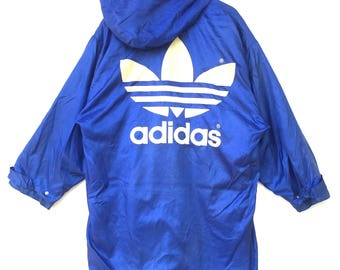 Vintage adidas long jacket parka big logo spell out emboidery