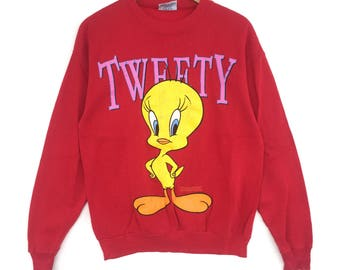 Tweety Cartoon Sweatshirt Big Logo Embroidery Sweat Medium Size Jumper Pullover Jacket Sweater Shirt Vintage 90's
