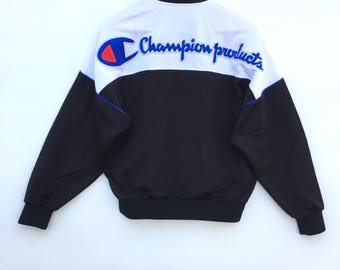 Champion Sweater/jacket colour block  Big Logo spell out Embroidery Sweat Medium Size Jumper Pullover Jacket Sweater Shirt Vintage 90's