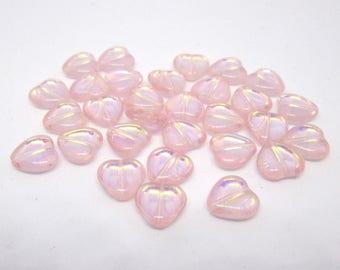 20- 10 mm - Rosaline/Pink Transparent AB Heart Bead, Cezch Pressed Glass