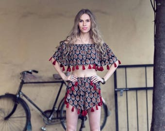 Boho Festival Bardot Tassels Top and Shorts Twin Set