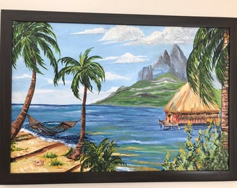 Indigenous beach village oil painting