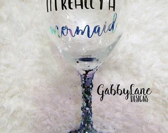 Glitter and vinyl wine glass