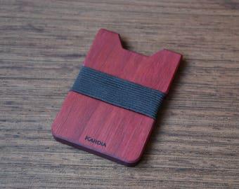 Wood Wallet, Purpleheart Wood, Minimalist Wallet, Card Holder, Boyfriend Gift, Front Pocket Wallet