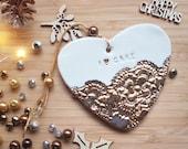 Cake gift, gold cake heart, I love cake, porcelain heart, lace and gold, cake and lace, Christmas present, secret santa
