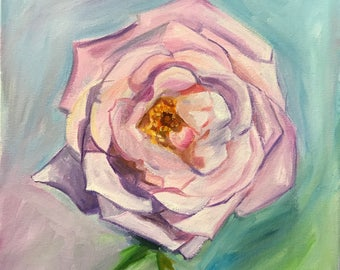 """Valentine's Day Original Oil Painting Ready to Hang On Canvas """"Blue Girl Rose"""""""