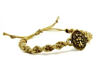Macrame jewelry- Adjustable bracelet- Friendship bracelet- Macrame bracelet- Unisex bracelet- Coin jewelry- Dainty bracelet- Boho bracelet