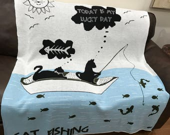 Throw Blanket, Cats Gone Fishing
