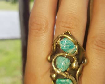 Brass Ring with Amazonite
