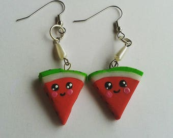 Watermelon earrings made of fimo