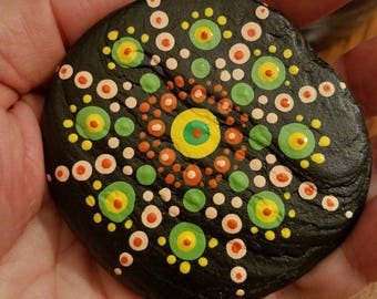 Mendalla handpainted beach stone. One of a kind.