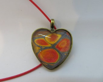 Heart pendant,4 circles, abstract pendant, wearable art, statement necklace, custom, hand painted, unique gift, gift for her.