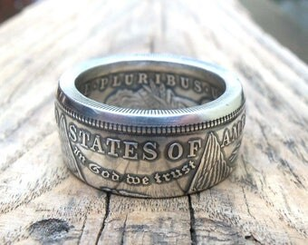 Coin ring MORGAN DOLLAR - Silver Coin Ring -One Dollar United States - Big Silver ring -  Coin ring USA - Free Shipping*