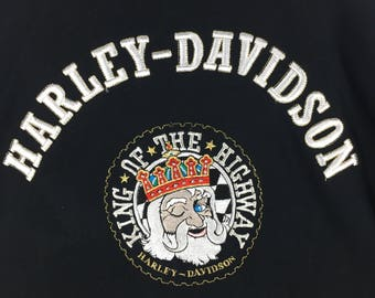 Rare!!! Vintage Harley Davidson Sweatshirt Big Logo Embroidery King Of The Highway Streetwear Fashion Design Pullover Jumper