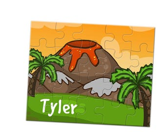 Volcano Jigsaw Puzzle - 20 Piece Puzzle - Custom Name Puzzle - 8 x 10 Puzzle - Children's Puzzle - Stocking Stuffer - Kids Jigsaw Puzzle