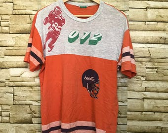 Vintage United Colour Of Benetton The Super Bowl American Football Sportswear T Shirt