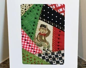Monkey Patchwork Greeting Card