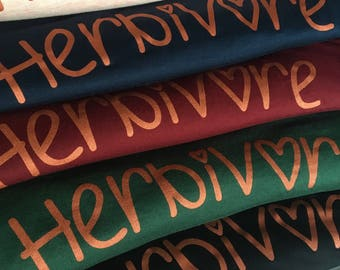 Herbivore slogan top, 100% Modal, super soft Herbivore Slogan Statement Sleeveless T-shirt, ladies. Metallic Copper print, 2 colours!
