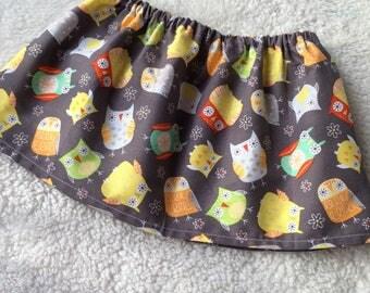 Grey Owls Flowers Baby Girl Skirt