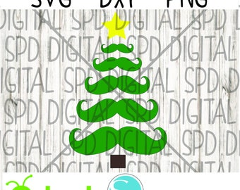 Mustache Tree svg, Christmas svg, Winter Svg, Holiday Svg, SVG, DXF, PNG files for Cameo and Cricut