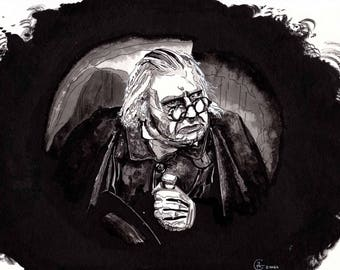 Art Print of pen/Ink painting by Raquel Gomes, of DR. CALIGARI (Werner Krauss) from the film The Cabinet of Dr. Caligari.