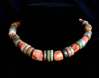 "Vintage Natural Mediterranean ""Sponge"" Coral Accented with Natural Green and Tan Disk Beads"