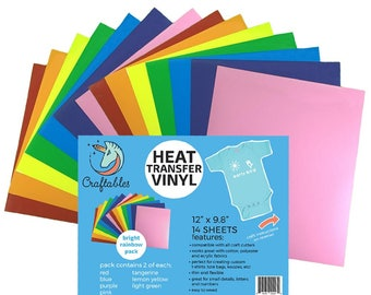 Craftables Heat Transfer Vinyl Bright Rainbow Pack - (7) or (14) 9.8in. x 12in. Sheets HTV t-shirt vinyl for Silhouette, Cricut, Cameo