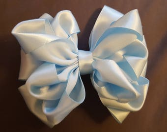 Light blue ruffle hair bow, hair bow for girls, hair accessories, hair bow for woman, headband, hair clip, ruffles, blue, light blue