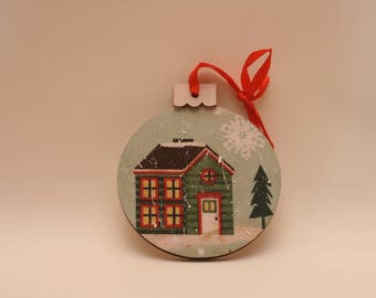 Wooden Christmas Ornament with Snow Scene