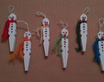 Set of 6 hand crafted snowmen ornaments