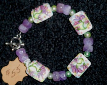 Ameythst and lampwork beaded bracelet