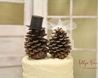 Wedding Pine Cone Cake Topper: Bride and Groom