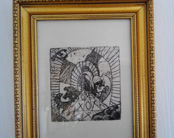 """Waters strong engraving 1st Edition, """"tunnel"""" frame and glass"""