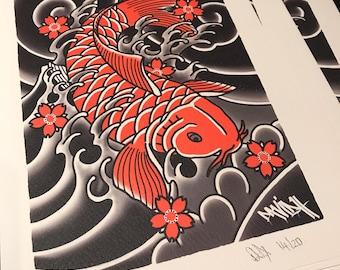 A4 Japanese Koi Tattoo Flash Print