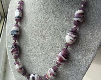 "Purple glass necklace, silver clasp, 19"", Handmade"