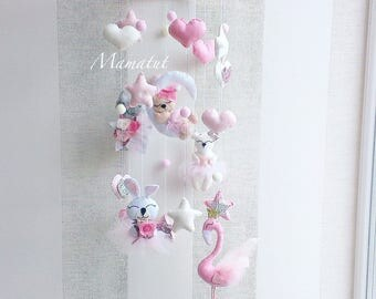 Baby mobile Pink baby mobile Baby Nursery mobile Crib mobile bunny baby mobile flamingo baby mobile flamingo crib mobile cat baby mobile